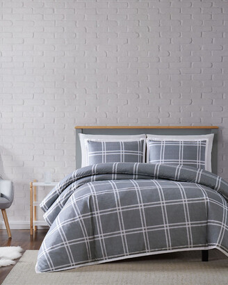 Truly Soft Leon Plaid Grey 3Pc Duvet Cover Set