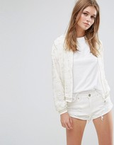 Liquorish Bomber Jacket In Broderie Anglaise