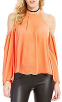 GB Cold Shoulder Tie-Back Pleated Blouse