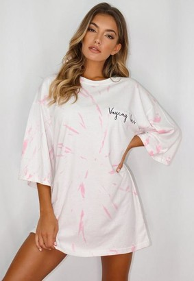 Missguided Pink Tie Dye Vacay Graphic Oversized T Shirt Night Dress