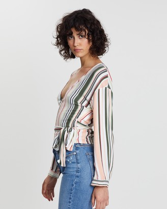 MinkPink On The Line Long Sleeve Top