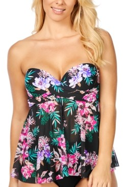 Island Escape Swimwear In Your Dreams Printed Flyaway Underwire Tankini Top, Created for Macy's Women's Swimsuit