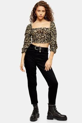 Topshop Womens Petite Black Mom Jeans - Black