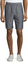 Vince Linen-Cotton Pull-On Shorts, Gray