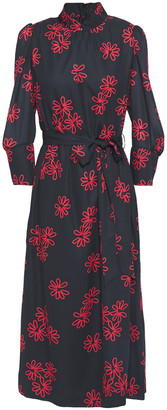 Simone Rocha Floral-print Crepe De Chine Midi Dress