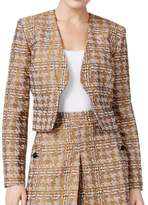 Nine West Brown Houndstooth Women's Size 4 Kiss-Front Jacket