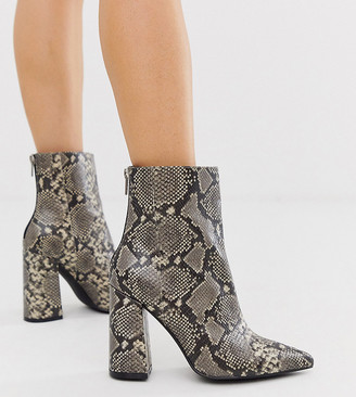 London Rebel wide fit pointed block heeled boot in snake