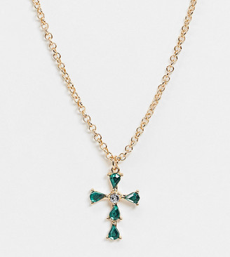 ASOS DESIGN Curve necklace with emerald crystal cross pendant in gold tone