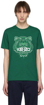 Kenzo Green Two-Tone Tiger T-Shirt