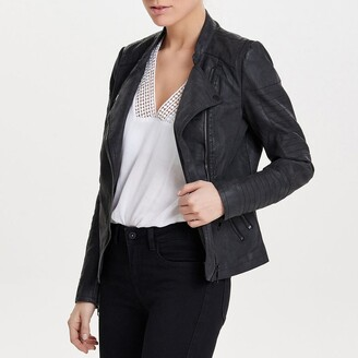 Only Cropped Faux Suede Biker Jacket with Pockets