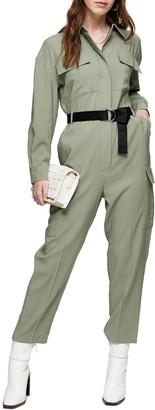 Topshop Flying Long Sleeve Belted Jumpsuit