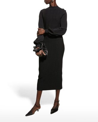 Lela Rose Seamed Mock-Neck Midi Dress
