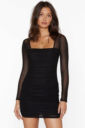 Nasty Gal Womens Mesh Behavior Ruched Bodycon Dress - Black - 10, Black