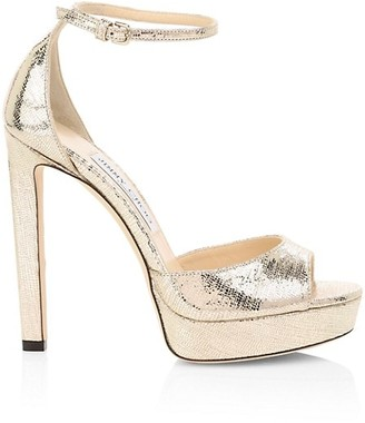 Jimmy Choo Pattie Lizard-Embossed Metallic Leather Platform Sandals