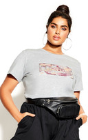 City Chic Couture Tee - charcoal