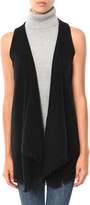 Minnie Rose Cashmere Frayed Trim Vest