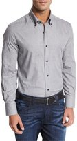 Neiman Marcus Flannel Sport Shirt, Light Gray