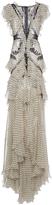 Roberto Cavalli Lace Insert Ruffle Long Dress