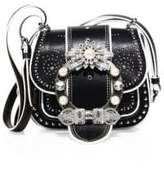 Miu Miu Dahlia Jewel-Buckle Studded Leather Shoulder Bag
