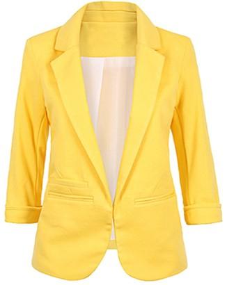 MUCOO Women Casual Boyfriends Blazer 3/4 Sleeve Open Front Pocket Office Work Business Suit Jacket