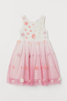 H&M Appliqued Tulle Dress - White