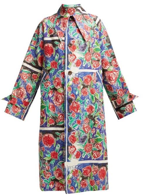 Charles Jeffrey Loverboy Rose Scribble Print Linen Coat - Womens - Red Multi