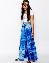 Asos Wrap Maxi Skirt In Tie Dye - Blue