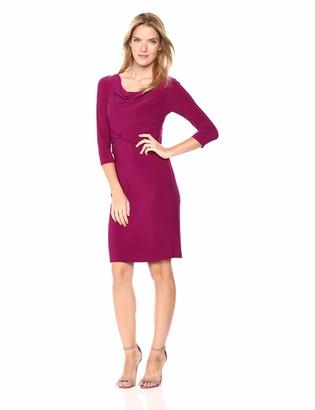 Adrianna Papell Women's 3/4 Sleeve Cowl Neckline Matte Jersey Sheath Dress