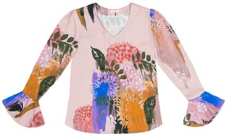 Tomcsanyi Svetlana Blurred Flower Print V Neck Cone Sleeve Top