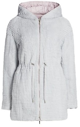 The Fur Salon Julia & Stella For Textured Mink Fur Reversible Quilted Down Drawstring Parka