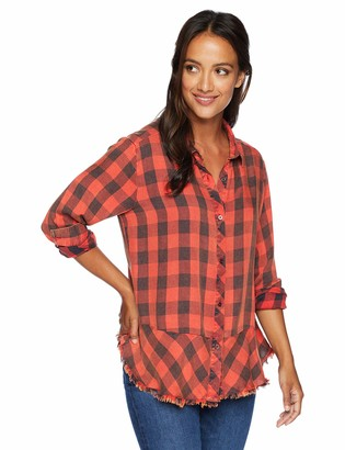 Democracy Women's Long Sleeve Plaid Button Up Shirt