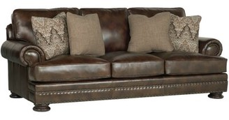 """Bernhardt Foster Genuine Leather 98"""" Recessed Arm Sofa Upholstery Color: Brown"""