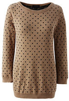 Classic Women's Supima 3/4 Sleeve Jacquard Sweater-Vicuna Heather Dot