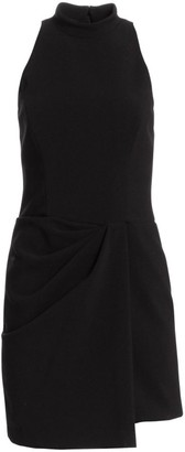 Halston Sleeveless Drape Front Sheath Dress