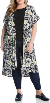 Karen Kane Palm Floral Duster