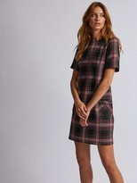 Dorothy Perkins Check Shift Dress - Burgundy