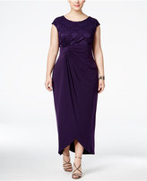 Connected Plus Size Sequined Lace Faux-Wrap Draped Gown