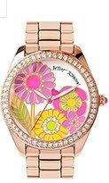 Betsey Johnson Multi-colored Floral Motif Dial Rose Gold Bracelet Watch