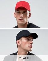 Asos Baseball Cap 2 Pack In Black And Red