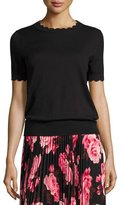 Kate Spade Short-Sleeve Scalloped Sweater, Black