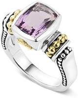 Lagos 18K Gold and Sterling Silver Caviar Color Small Amethyst Ring