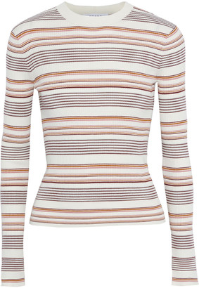 Frame Striped Ribbed Cotton And Wool-blend Sweater