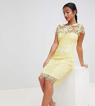 Paper Dolls Petite Cap Sleeve Sweetheart Detail All Over Crochet Lace Pencil Dress-Yellow