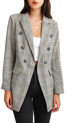 Belle & Bloom Too Cool For Work Plaid Blazer