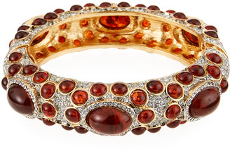 Kenneth Jay Lane Hinged Cabochon Crystal Bracelet, Tortoise