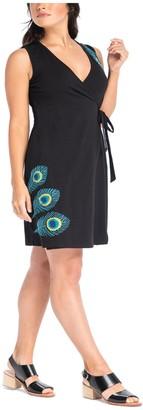 Synergy Peacock Applique Classic Wrap Dress