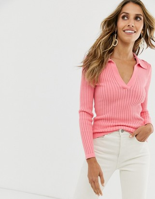 And other stories & ribbed deep v knitted top in bright pink