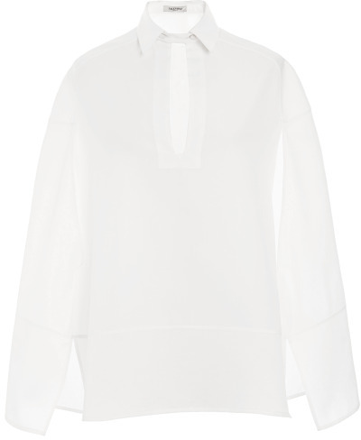 Valentino White Cotton Piquet Sleeveless Pull Over Blouse With Cape Details