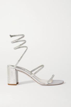 Rene Caovilla Cleo Crystal-embellished Satin Sandals - Silver