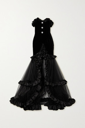 Alessandra Rich Ruffled Silk Satin-trimmed Crystal-embellished Velvet And Tulle Gown - Black